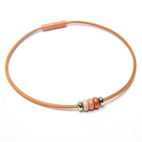 Leather 3 Bead Choker