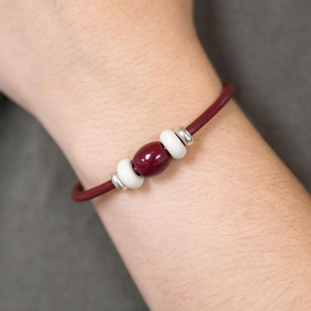 Landella jewelry in Tulsa makes leather magnetic clasp bead charm bracelets