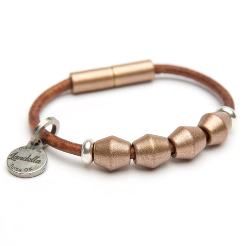 Copper 4 Bead Leather Bracelet