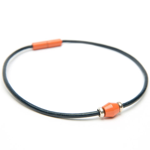 Navy Leather Choker with Coral Bead-handmade by Landella jewelry of Tulsa