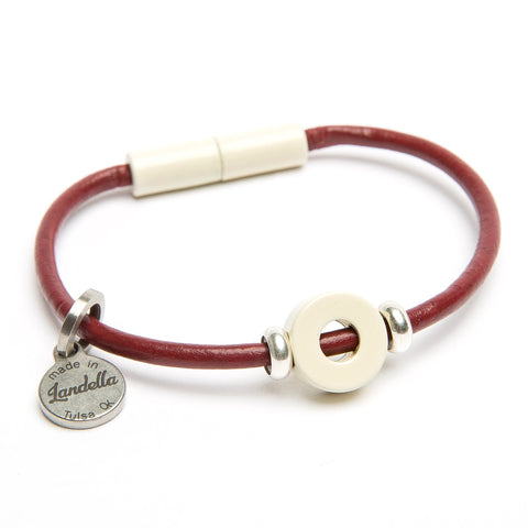 Magnetic disc bead leather charm bracelet by Landella jewelry store in Tulsa