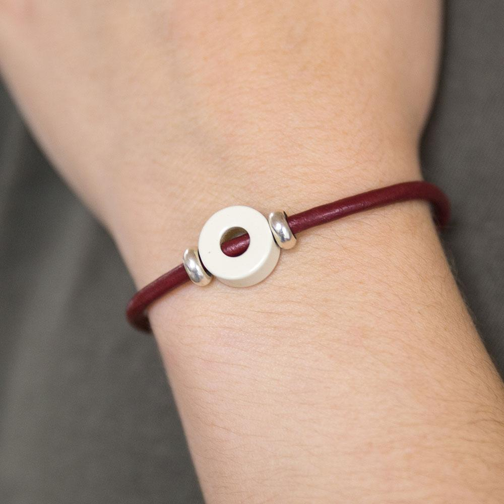 disc bead leather magnet bracelet by Landella jewelry store in Tulsa