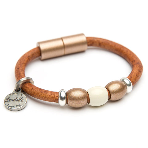 Chunky Leather 3 Bead Bracelet