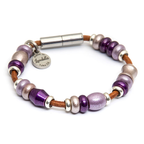 Multi Color Bead Leather Bracelet | Color of the Month