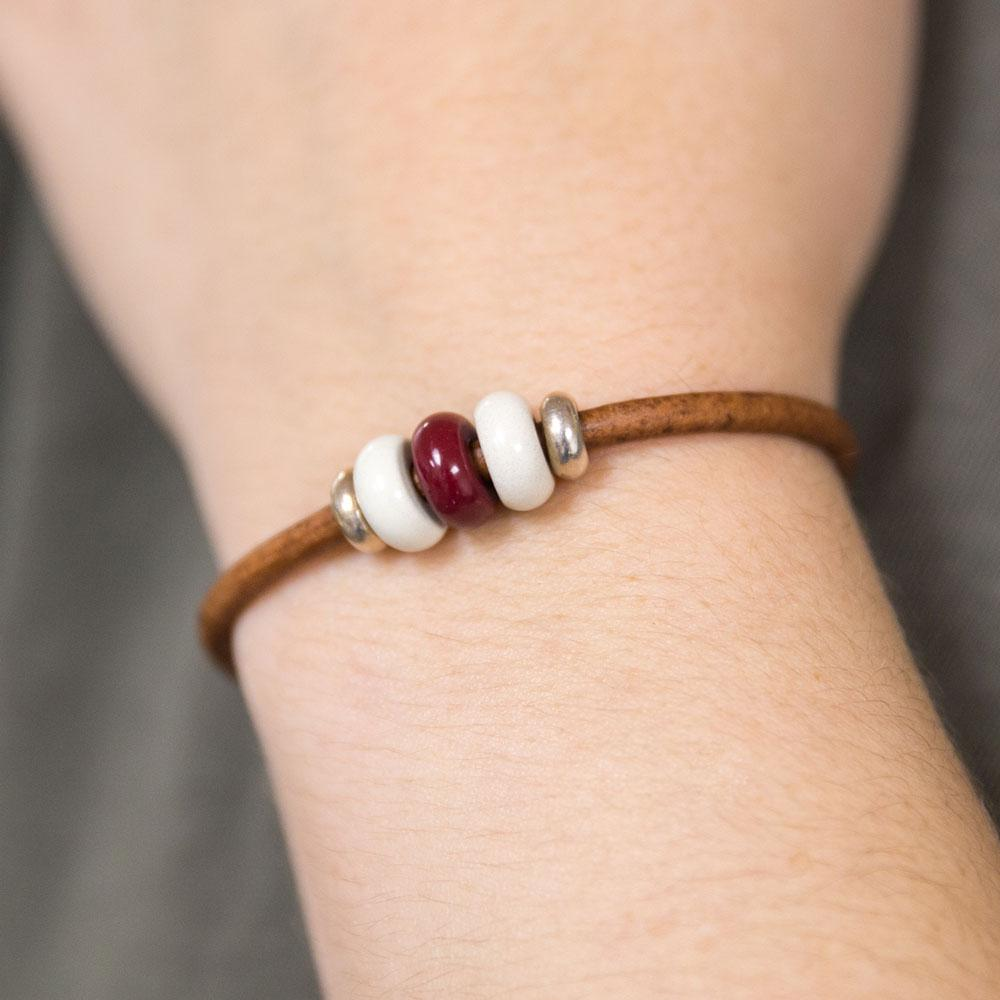 Landella jewelry store of Tulsa makes colorful bead bracelets with strong magnetic clasps