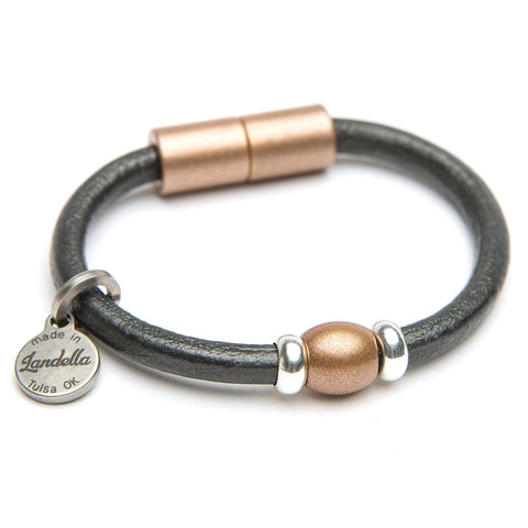 Chunky Leather Single Bead Bracelet