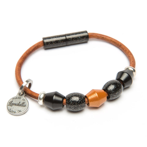 Leather 5 Bead Bracelet-Bracelet-by Landella jewelry of Tulsa