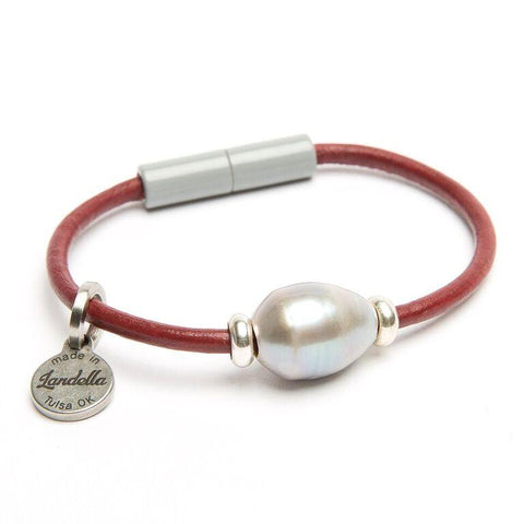 Landella jewelry store of Tulsa's signature pearl leather bracelet with magnet clasp
