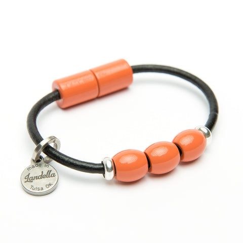 Black Leather 3 Bead Bracelet with Coral Beads-Bracelets-handmade by Landella jewelry of Tulsa