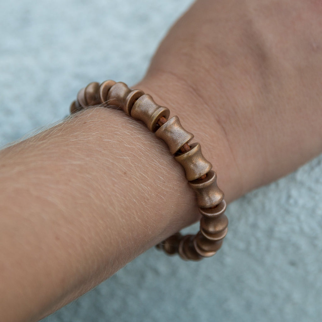 Copper Full Bead Leather Bracelet