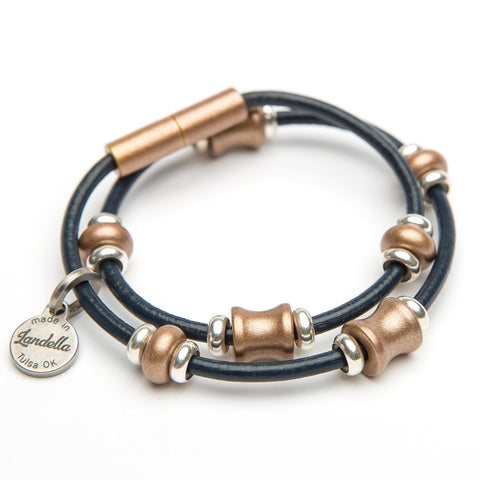Copper Bead Leather Wrap Bracelet