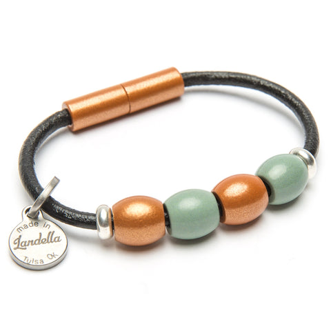 Leather 4 Bead Bracelet