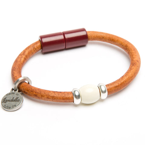 Leather bracelet by Landella Jewelry of Tulsa with magnet clasp and handmade bead