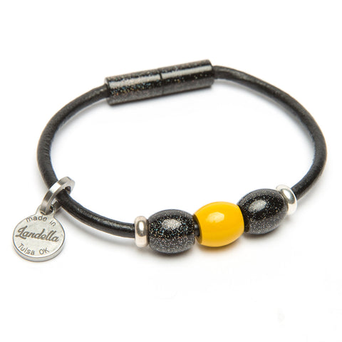 Leather 3 Bead Bracelet-Bracelet-by Landella jewelry of Tulsa