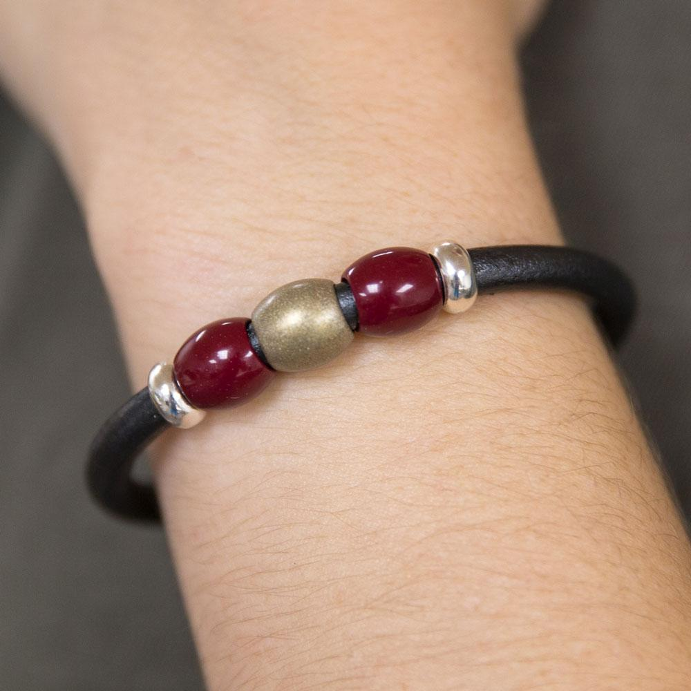 Leather bead bracelet jewelry made in Tulsa by Landella