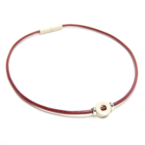 Landella choker necklace with white disc bead made in Tulsa Jewelry Store