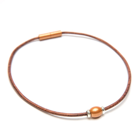 Single Bead Leather Choker