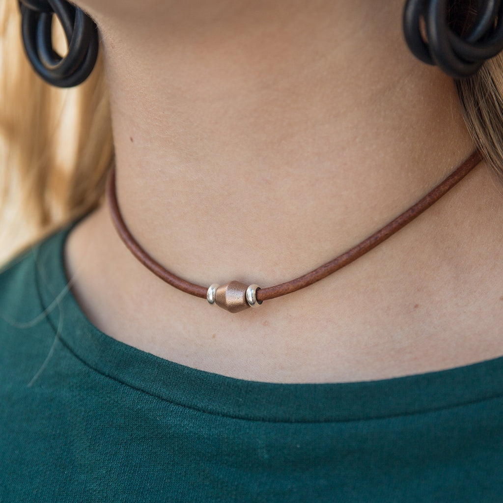 Natural Leather Single Bead Choker