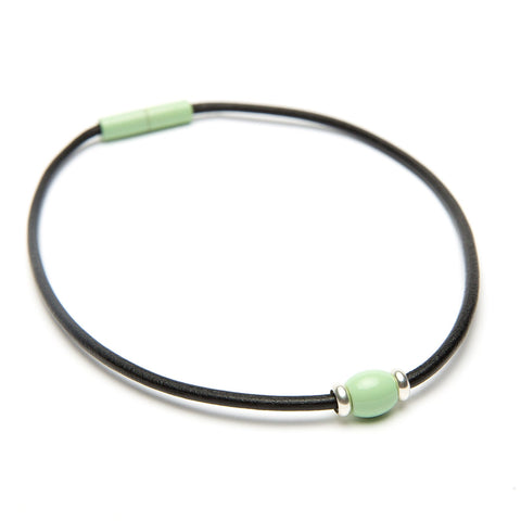 Landella mint green single bead choker necklace on black leather with magnet clasp