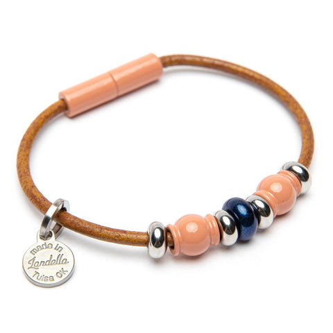 Deluxe Leather 3 Bead Bracelet | Color of the Month