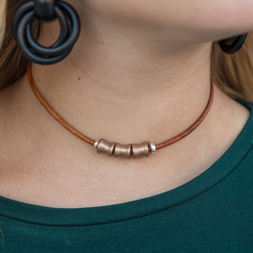 Copper 3 Bead Leather Choker