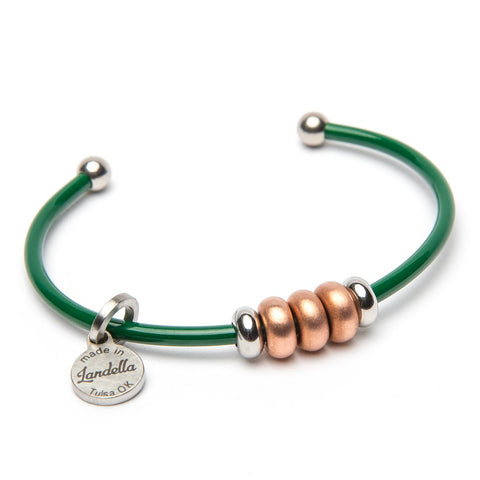 Stainless Steel 3 Bead Cuff Bracelet - Color of the Month