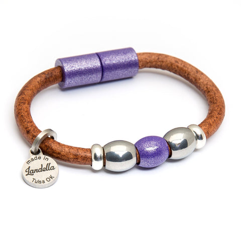 Chunky 5mm 3 Bead Leather Bracelet | Color of the Month