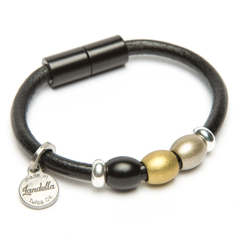Chunky Leather 3 Bead Bracelet-Bracelet-by Landella jewelry of Tulsa