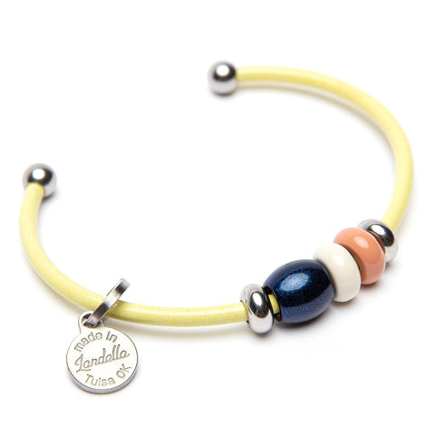 Stainless Steel 3 Bead Cuff Bracelet | Color of the Month