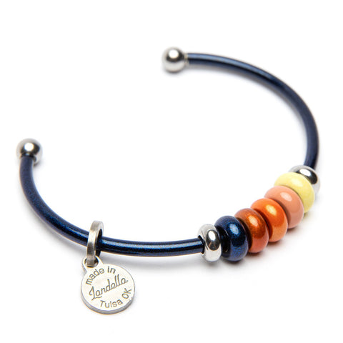 Stainless Steel 5 Bead Cuff Bracelet | Color of the Month