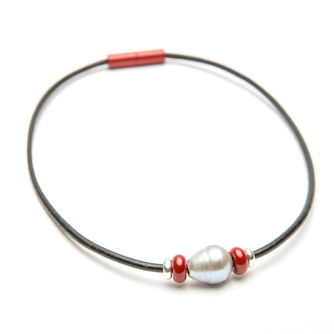Leather Bead & Freshwater Pearl Choker