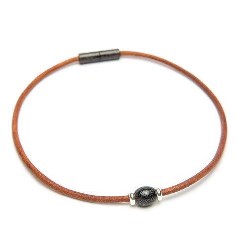 Leather Single Bead Choker-Bracelet-by Landella jewelry of Tulsa