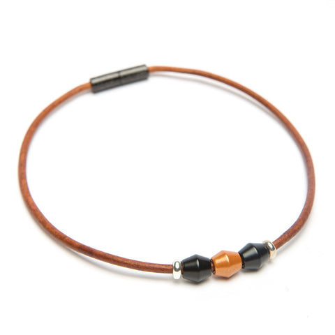 Leather 3 Bead Choker-Bracelet-by Landella jewelry of Tulsa