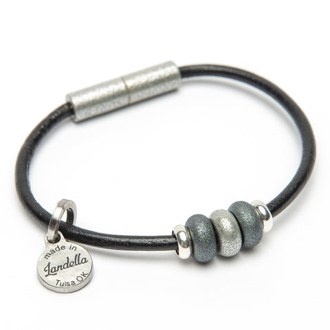 Leather 3 Bead Bracelet | Color of the Month