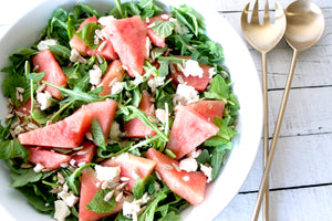 Arugula with Watermelon, Feta, and Honey-Lime Dressing
