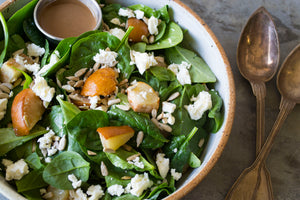 Spinach Salad with Roasted Pears, Feta and Fig Balsamic Vinaigrette
