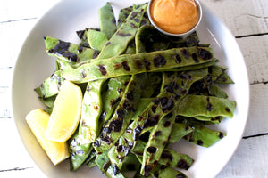 Grilled Romano Beans with Spicy Garlic Aioli