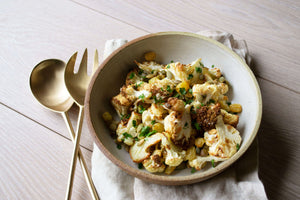 Roasted Cauliflower with Golden Raisins, Capers, and Toasted Pumpkin Seeds