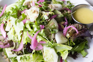 Marinated Beet Salad on Mixed Chicories with Winter Citrus and Green Goddess Dressing