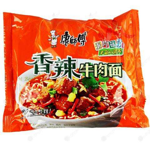 Master Kong Beef Noodle Soup (Spicy) 康師傅爆椒香辣牛肉麵 105g/包