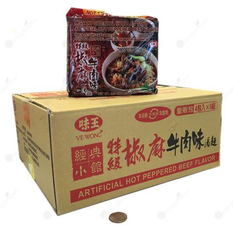 Hot Peppered Beef Flavor (3.35oz x 6 x 4 bags, Pack of 24) 特級椒麻牛肉麵 3.35oz x 4包入x 6組/箱
