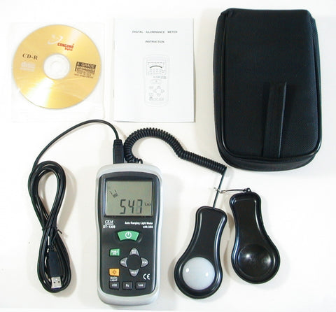 CEM DT-1309 Automatic Range Digital Illuminator Gauge Brightness Meter USB
