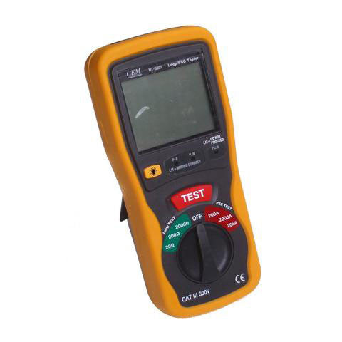 CEM DT-5301 Digital LCD Earth Loop Impedance and Prospective Short Circuit (PSC) Tester for European Power Circuit