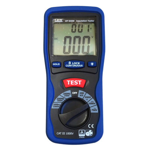 CEM DT-5500 Digital Insulation Tester Megger MegOhmMeter CAT III 1000V, 2000 Mega Ohm
