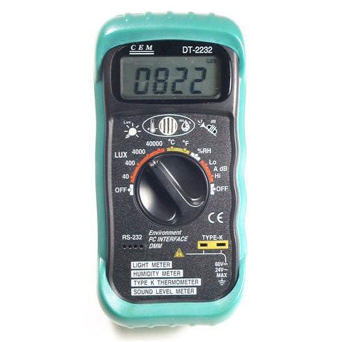 CEM DT-2232 Digital Thermometer Light Humidity Sound Meter 4-in-1