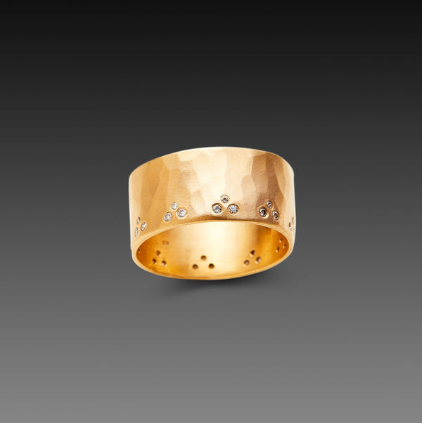 Wide Hammered Band with Diamond Trios