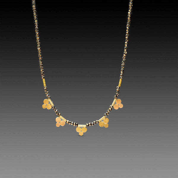 Pyrite Necklace with Five Gold Trios