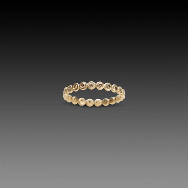 Hammered Dot Diamond Eternity Band in White Gold