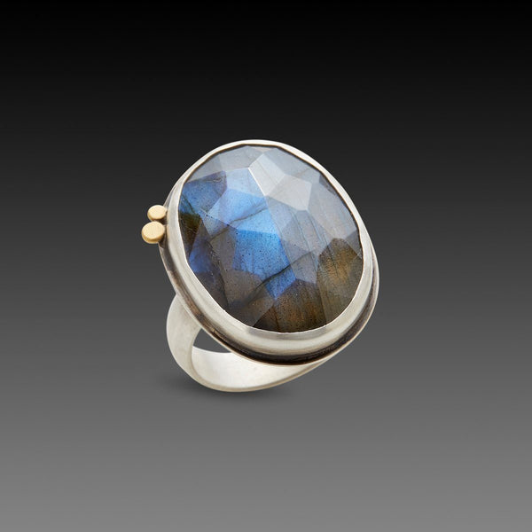 Faceted Oval Labradorite Ring