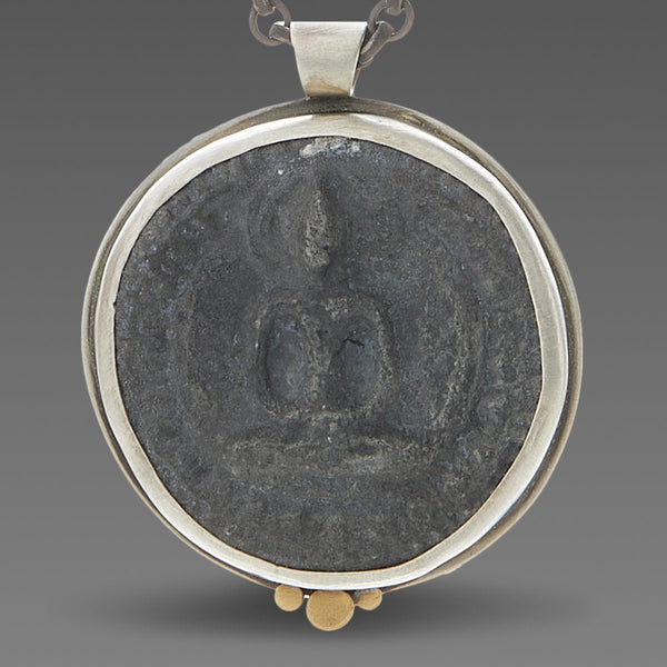 Thai Buddha Amulet Necklace with Three Gold Dots
